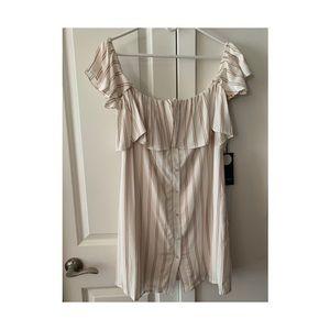 Striped Off Shoulder Button Down Dress